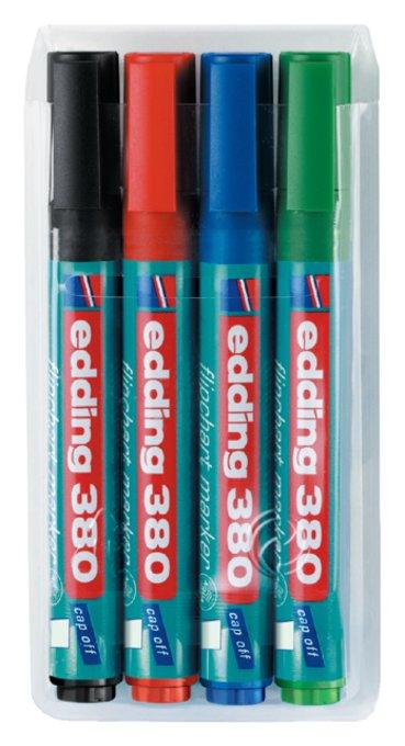 Viltstift edding 380 flipover rond ass 1.5-3mm etui à 4st