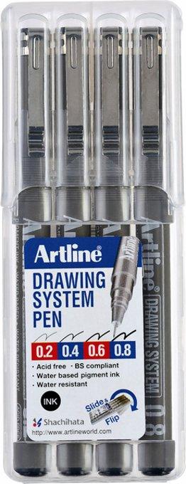 Fineliner Artline set met 0.2-0.4-0.6-0.8mm zwart