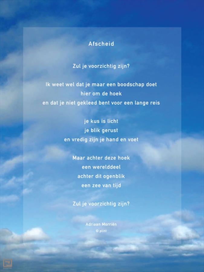 Onwijs Plint raamgedicht met gedicht Afscheid , Adriaan Morriën AM-95