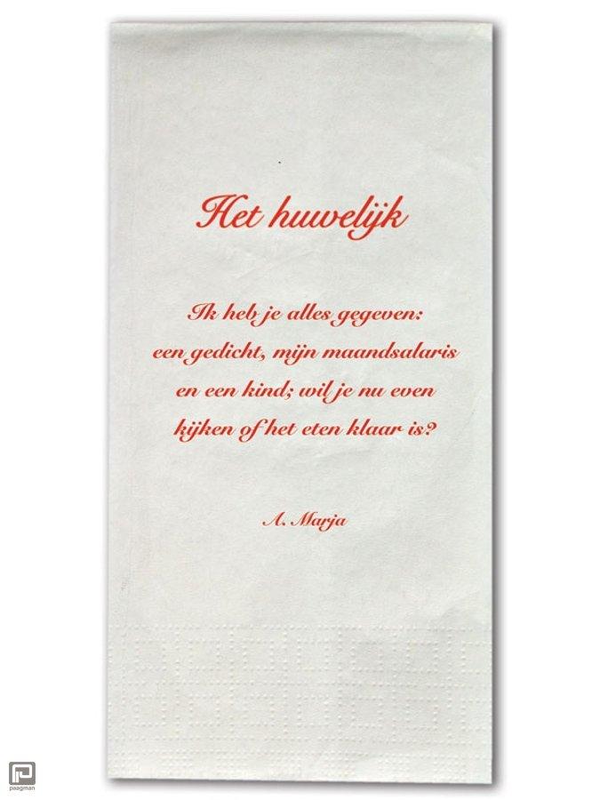 Plint servetten met gedicht het huwelijk a marja