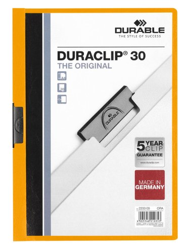 Klemmap Durable 2200 A4 3mm oranje