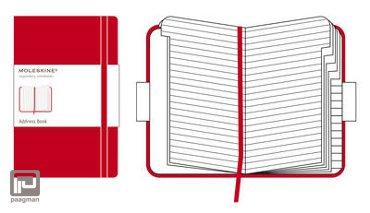 Moleskine adresboek classic L rood gelinieerd