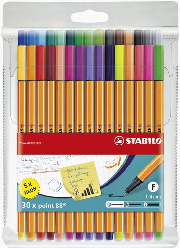 Fineliner STABILO point 88 etui à 30 kleuren