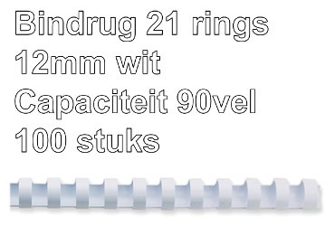 Bindrug Fellowes 12mm 21rings A4 wit 100stuks