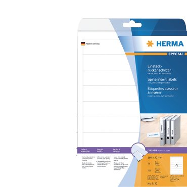 Rugetiket Herma 5122 insteekkaart 190x30mm smal wit