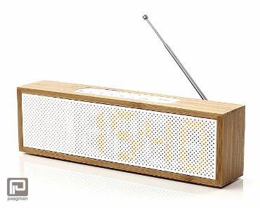 Lexon Titanium wekkerradio bamboe