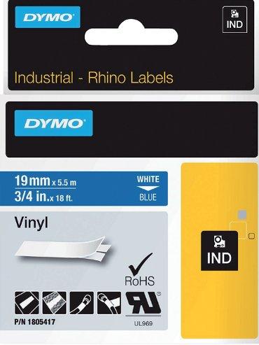 Labeltape Dymo Rhino 18054 19mmx5.5m vinyl wit op blauw