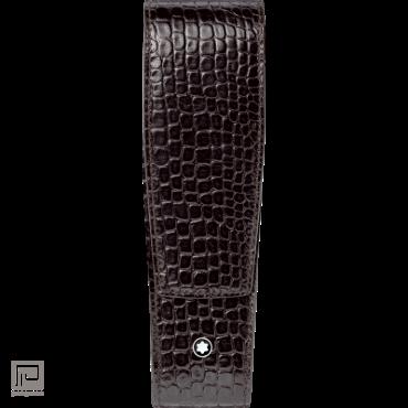 Montblanc penetui, lederen etui voor 2 pennen, Meisterstück Classique en LeGrand, kleur donkerbruin