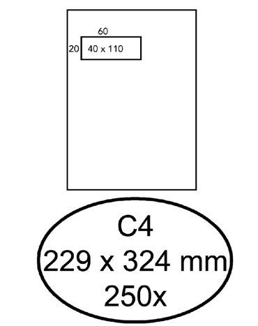 Envelop Hermes akte C4 229x324mm venster 4x11 links zelfk