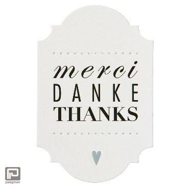 Räder cadeaulabel paper & poetry merci, formaat 8 x 12 cm., kleur wit
