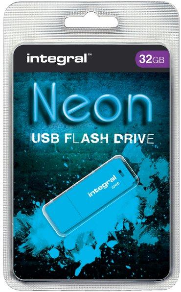 USB-stick 2.0 Integral 32GB neon blauw