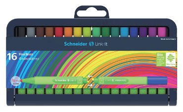 Fineliner Schneider Link-it 0.4mm 16stuks assorti