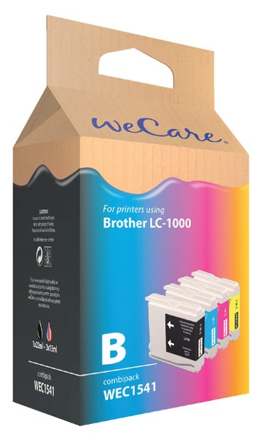 Inkcartridge Wecare Brother LC-1000 zwart + 3 kleuren