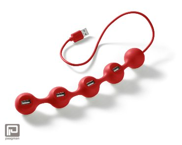 Lexon Peas USB hub rood