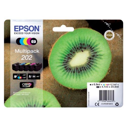 Image of Inkcartridge Epson 202 T02e74 Zwart 3 Kleuren Foto Zwart