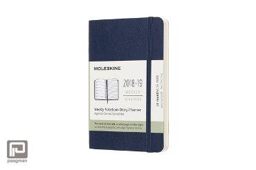 Moleskine 18 maanden weekagenda 2018 - 2019, formaat pocket 9 x 14 cm., softcover, kleur blauw