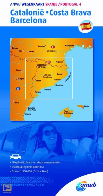 Spanje/Portugal 4 Catalonië, Costa Brava, Barcelona - ANWB wegenkaart