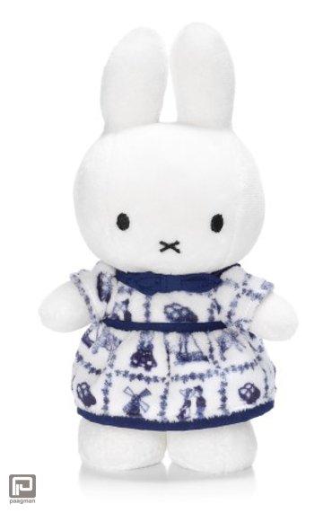 Nijntje delft blauwe jurk knuffel, formaat 24 cm., wit