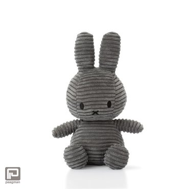 Nijntje corduroy knuffel, formaat 24 cm., donker grijs