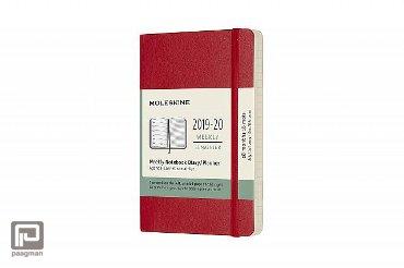 Moleskine 18 maanden weekagenda 2019 - 2020, softcover, kleur rood, formaat pocket 9 x 14 cm.