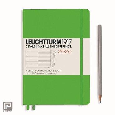 Leuchtturm1917 agenda 2020, 1 week per pagina, hardcover, kleur gras groen, formaat medium (A5) 14,5 x 21 cm.