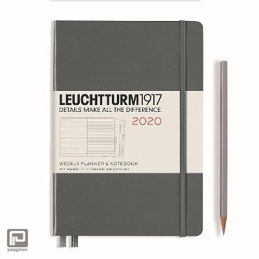 Leuchtturm1917 agenda 2020, 1 week per pagina, hardcover, kleur antraciet, formaat medium (A5) 14,5 x 21 cm.