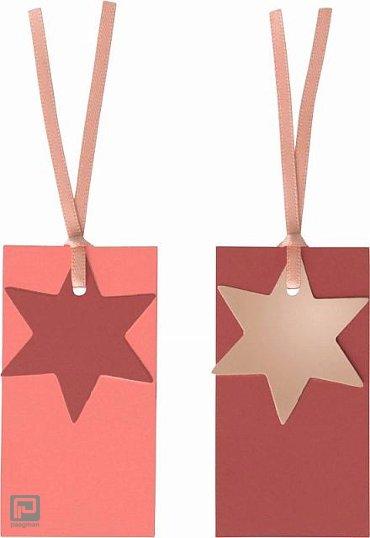 Stewo cadeaulabels kerst, formaat 4 x 7,5 cm., kleur rood, à 4 stuks