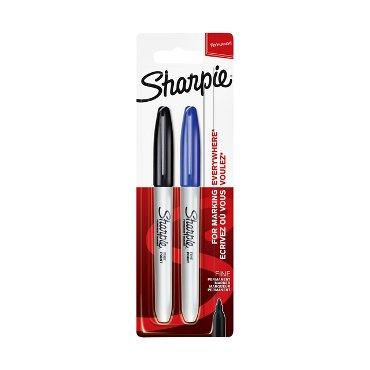 Viltstift Sharpie rond 0.9mm zwart en blauw blister à 2 stuks