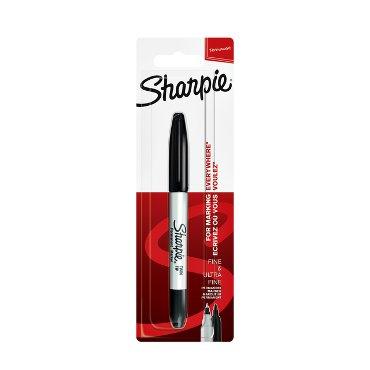 Viltstift Sharpie twin tip rond 0.5mm en 0.9mm zwart blister à 1 stuk