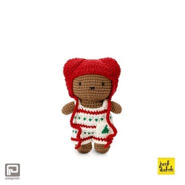 Just-Dutch Boris handmade en zijn kerst overall + rode muts